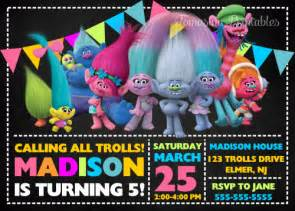Trolls Birthday Party Invitation Printable