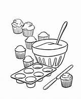 Coloring Dessert Cupcakes Baking sketch template