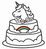 Unicorn Cake Drawing Coloring Pages Birthday Cute Fairy Cool Unicorns Happy Sheets Baby Valentines Animal sketch template