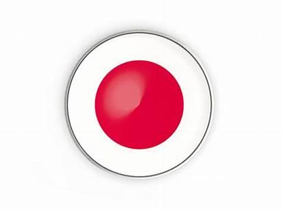 Japan Round Button Flag Frame Icon Metal