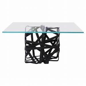 Quotwovenquot cube coffee table with glass surface for sale at for Glass cube coffee table