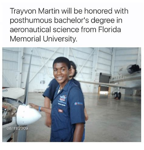 Trayvoning Meme - trayvon martin will be honored with posthumous bachelor s degree in aeronautical science from
