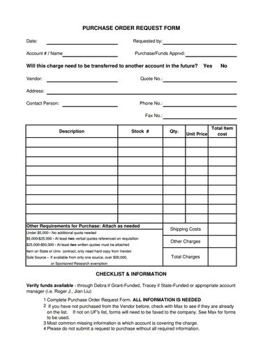 purchase order request form template   edit