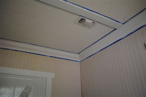How To Cover Popcorn Ceiling With Beadboard : Beadboard And Shallow Coffered Ceiling. Lovely Way To