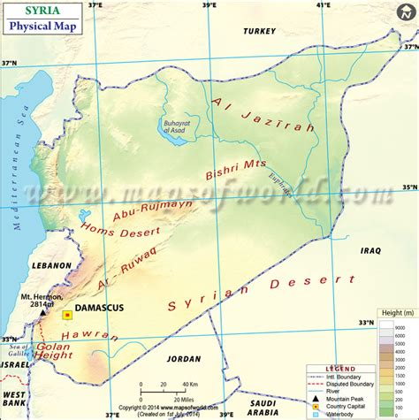 physical map  syria