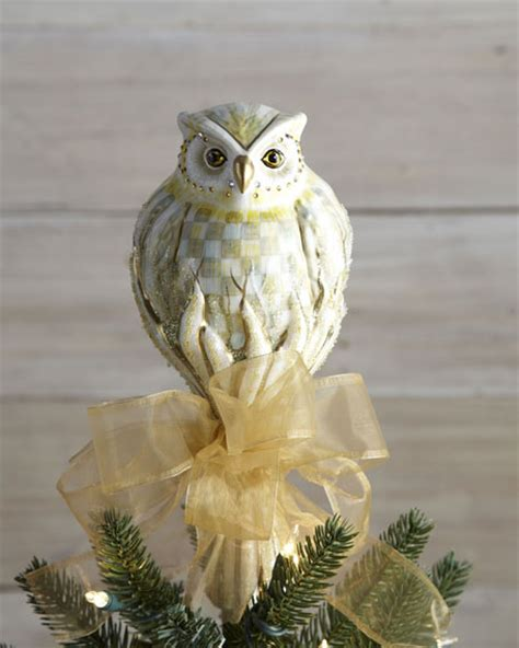 mackenzie childs parchment check owl christmas tree topper