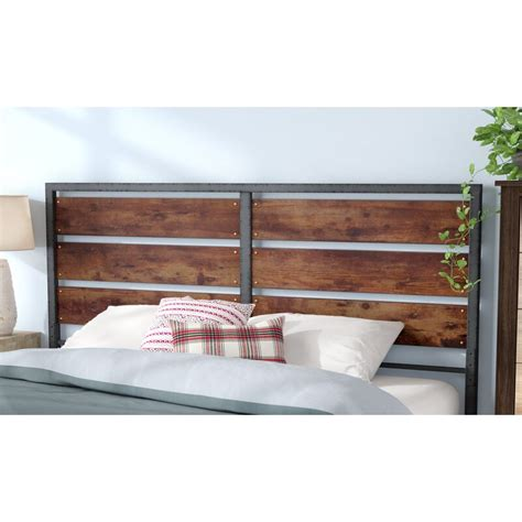 union rustic abril metal  wood plank queen slat