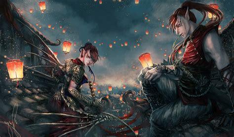 fantasy art original characters sky lanterns wallpapers