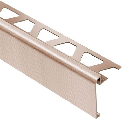 schluter tile trim home depot schluter rondec step brushed copper anodized aluminum 1 2
