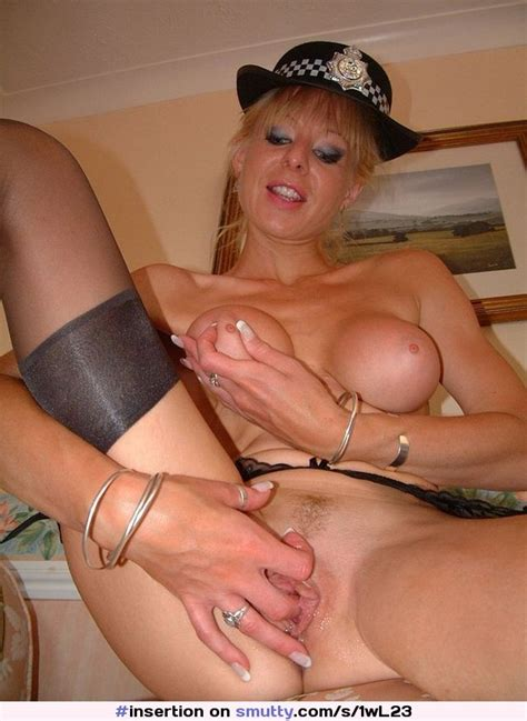 Michelleriding British English Uniform Police Policewoman Stocking Heels Baton Blonde Blueeyes