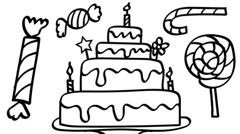 Birthday Cake And A Lot Of Candy Coloring Pages Kids Fun