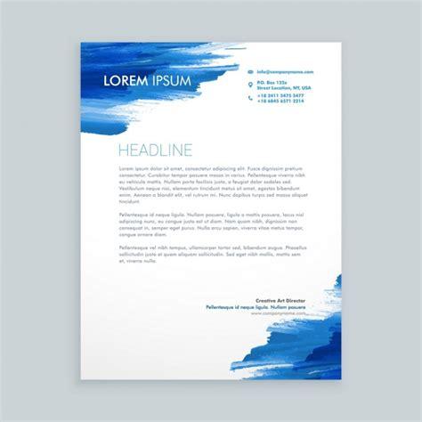 blue brush splatter letterhead vector