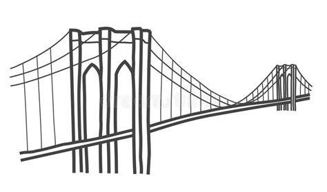 Illustration Of Brooklyn Bridge, New York Stock ...
