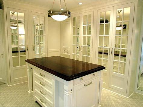 elegant walk  closet design  white closet island
