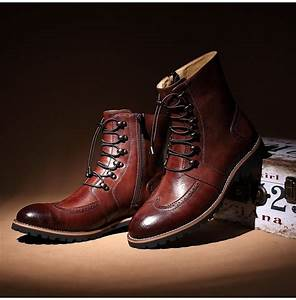handmade men lace up ankle high leather boot men leather With custom leather boots mens