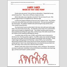 Candy Canes (elementary) Reading Comprehension I Abcteachcom Abcteach