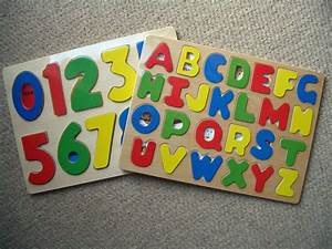 childrens kids learning wooden abc letters alphabet or 123 With number and letter puzzles