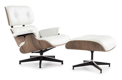 chaise style eames eames style lounge chair and ottoman white leather walnut