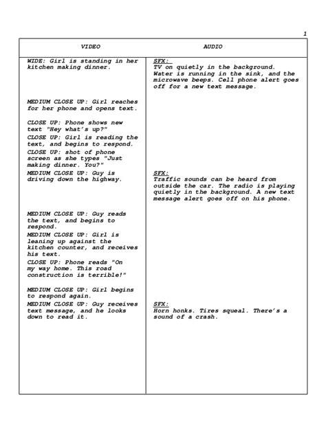 commercial script template scriptwriting psa commercial script