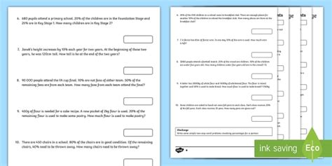 multi step percentages maths word problems differentiated