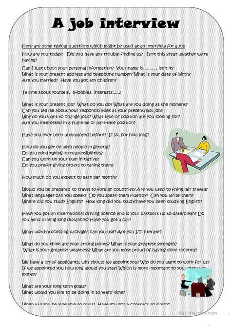 esl job interview worksheets