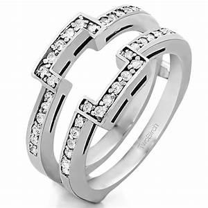 square halo engagement ring guard 10 karat gold ring With cubic zirconia wedding ring enhancers