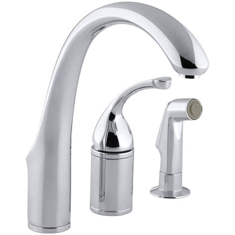 kohler forte single handle standard kitchen faucet  side sprayer  polished chrome