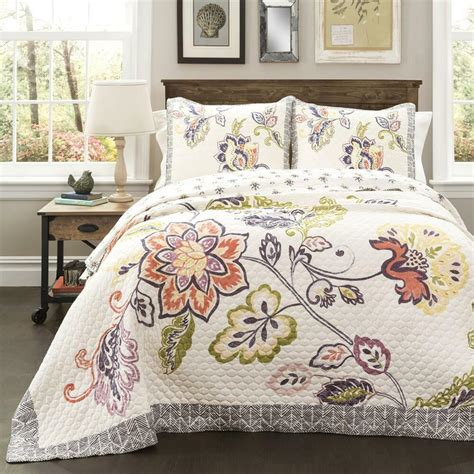 King Size Coverlets And Quilts by Floral Lightweight 3 Reversible Quilt Set Cotton