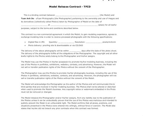 photography contract examples samples