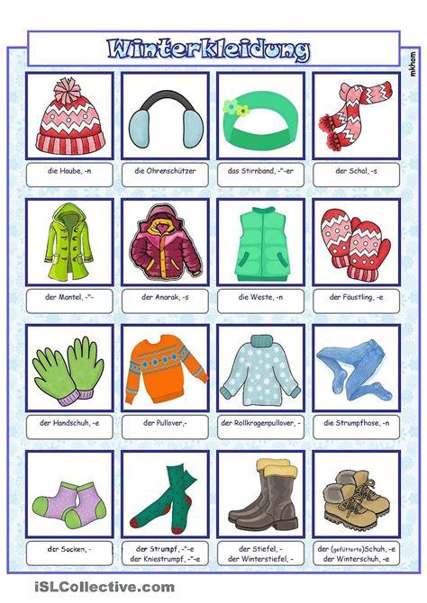 Bildwörterbuch Winterbekleidung  Daz  Winter, Kleidung