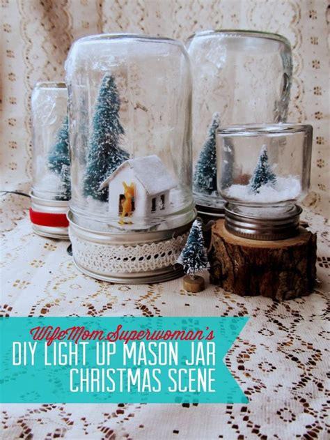 pin diy light  mason jar christmas scene