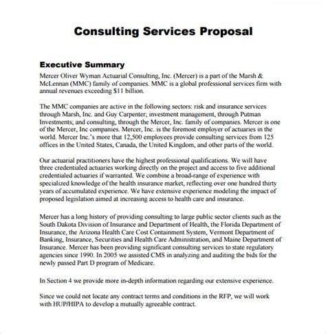 consulting templates 9 sle consultant proposals sle templates