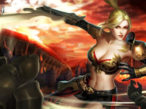 league  angels  karen fantasy girl warrior game loa art