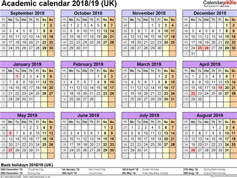 2018 2019 academic calendar template academic calendars 2018 2019 as free printable word templates