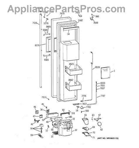 parts  ge zissdcass freezer door parts