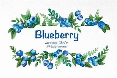 Blueberry Clip Watercolor Graphics Photoshop
