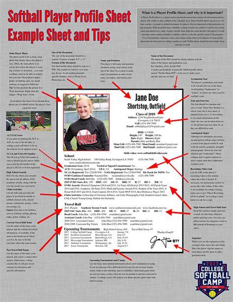 softball player profile template college softball c player profile sheets