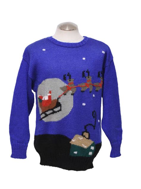 ugly christmas sweater retro look pinwheels unisex blue