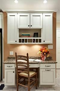 Built-in kitchen desk Kitchen ideas Pinterest Dark