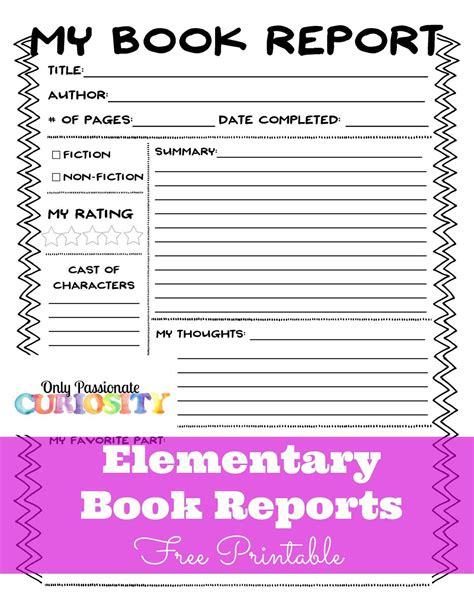 elementary book reports  easy  passionate curiosity