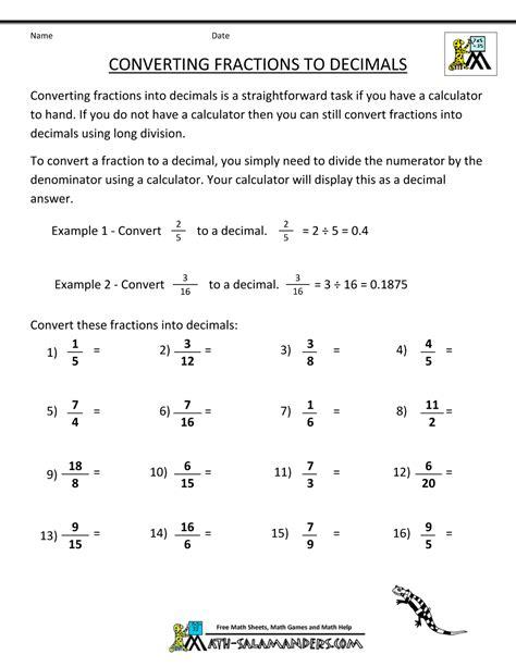 fraction decimal equivalents chart ks2 fractions