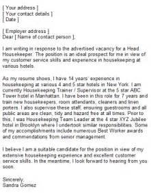 housekeeping supervisor resume cover letter housekeeper cover letter sle
