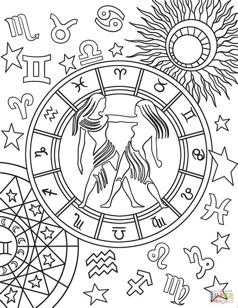 constellation of aquarius worksheet gemini zodiac sign coloring page free printable coloring