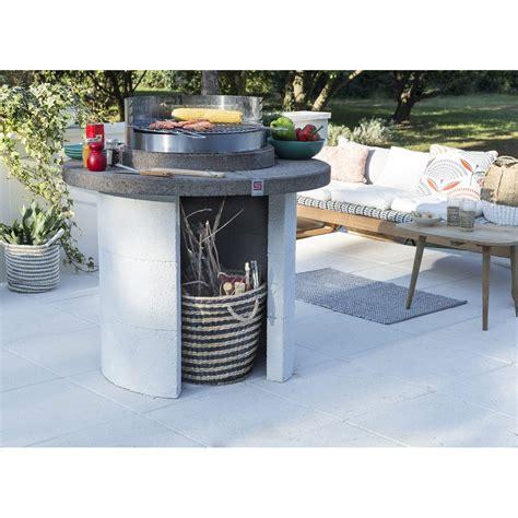 leroy merlin cuisine exterieure barbecue en béton beige et gris mercurio l 102 x l 102 x