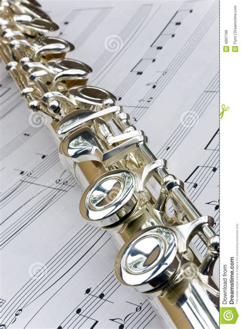 Flute Lay Across Sheet Music Stock Photo Image Of