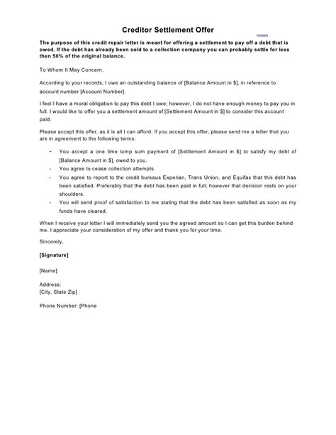 sle letter creditor settlement offer