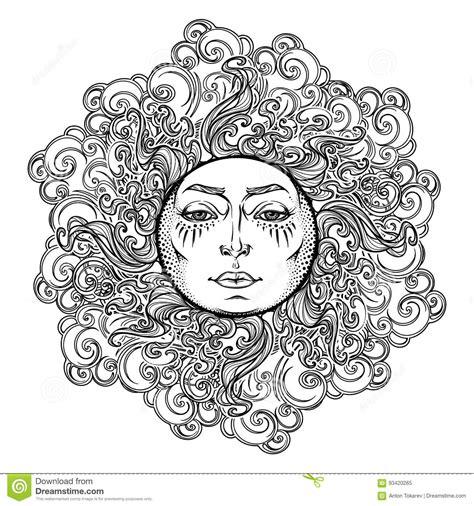 tatouage de mandala le soleil de style de conte de fees