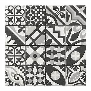 mosaique carreaux de ciment blanc noir 7 x 7 cm With mosaique carreaux