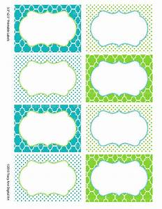 Printable Labels Or Buffet Cards Blue And Green Instant