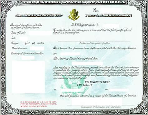 sample certificate  naturalization citizenship
